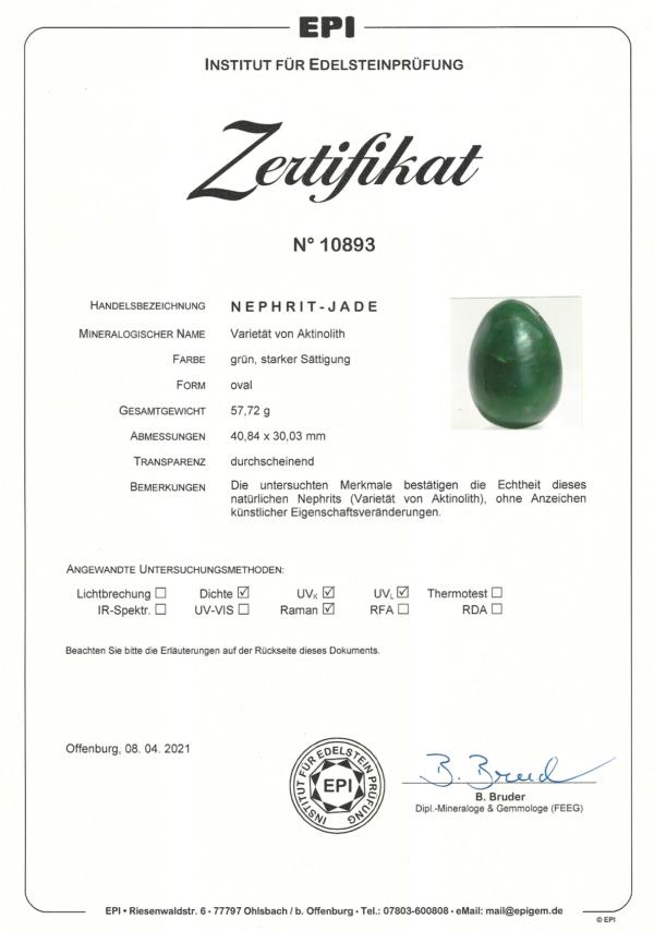 Zertifikat Nephrite Jade Südrussland