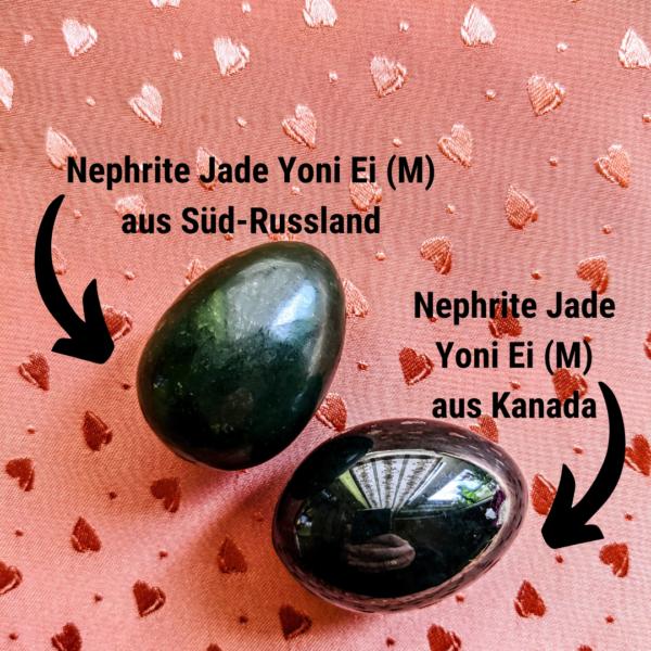 Nephrite Jade Yoni Eier (M) im Vergleich